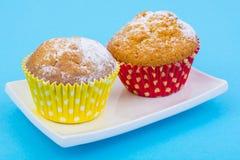 Smakelijke muffins op pastelkleurachtergrond Minimaal Voedselconcept Royalty-vrije Stock Foto