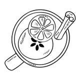 Smakelijke overwogen wijndrank met kaneel en citrusvruchtenkrabbelschets stock illustratie