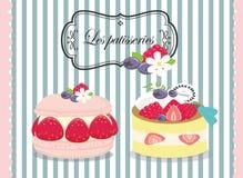 Smakelijke patisserie, gebakje, pastei, cake Stock Foto's