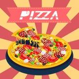 Smakelijke Retro Pizza Royalty-vrije Stock Afbeeldingen