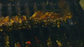 Smakelijke ribben op de grill, kokend barbecuevlees, sappige lamsribben met geroosterde korst op de grill stock footage