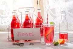 Smakelijke rode orangeade in fles met citrusvruchten stock foto's