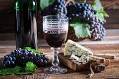 Smakelijke rode wijn met druiven en kaas Stock Afbeeldingen