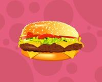 Smakelijke sandwich of hamburger vectorillustratie Royalty-vrije Stock Fotografie