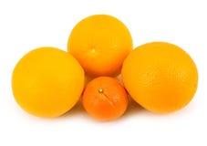 Smakelijke sinaasappelen met mandarijn Stock Foto's