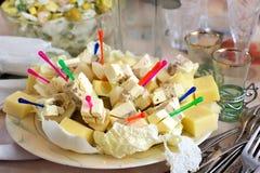Smakelijke snack van verschillende rangen van kaas stock foto's