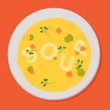 Smakelijke soep in witte kom. Stock Afbeeldingen