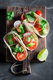 Smakelijke taco's met avocado en verse koriander Royalty-vrije Stock Afbeeldingen