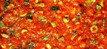 Smakelijke tomaten souce achtergrond Stock Fotografie