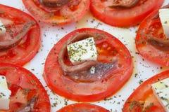 Smakelijke tomatenplakken met kaas Royalty-vrije Stock Fotografie