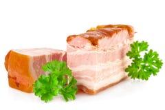 Smakelijke varkensvleesbacon en peterselie royalty-vrije stock foto's