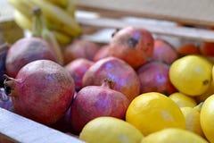 Smakelijke verse rode appelen bij kruidenierswinkelopslag Koop & eet natuurlijk vitaminevoedsel De afdeling van de landbouwersmar Stock Foto