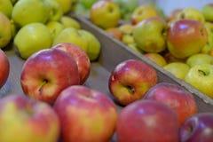 Smakelijke verse rode appelen bij kruidenierswinkelopslag Koop & eet natuurlijk vitaminevoedsel De afdeling van de landbouwersmar Stock Afbeeldingen
