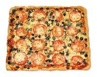 Smakelijke vierkante pizza met groenten Stock Foto