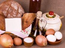 Smakelijke voedselingrediënten en baksel Stock Foto's