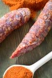 Smakelijke worst en Spaanse peper Royalty-vrije Stock Afbeelding