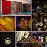 Smaki i kolory w Maroko plażowa kolażu dennej podróży woda Zdjęcie Stock
