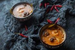 Smaklig asiatisk soppatom sötpotatis i små bunkar med chilipeppar, räka, champinjoner, kokosnöten och limefrukt på en mörk bakgru arkivbilder