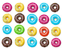 Smaklig färgrik donutsbakgrund Royaltyfria Foton