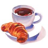 Smaklig giffel och kopp te, frukostbegrepp, isolerat varmt drink och bageri, svart te för arom och efterrätt, hand royaltyfri illustrationer