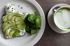 Smaklig grön vegetarisk målmacha royaltyfri foto