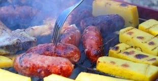 Smaklig grillad köttgrillfest med griskött och korvar 18 Arkivbilder