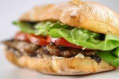 Smaklig grisköttbiffsmörgås i en ciabatta med tomater, grönsallat Royaltyfri Bild