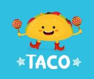 Smaklig gullig lycklig le tacodans med maracas royaltyfri illustrationer