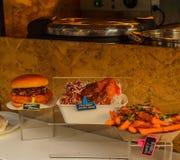 Smaklig hamburgare med småfiskar och en kötträtt med ris Royaltyfri Bild