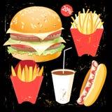 Smaklig hamburgarematmeny vektor illustrationer