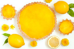Smaklig hemlagad dragen tillbaka syrlig pajefterrätt för citron med Arkivfoto