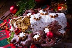 Smaklig jul Stollen fotografering för bildbyråer