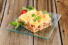smaklig lasagna Arkivfoto