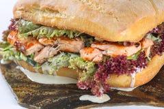 Smaklig laxbiffsmörgås i en ciabatta Fotografering för Bildbyråer