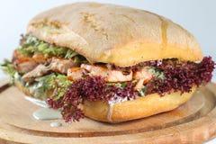 Smaklig laxbiffsmörgås i en ciabatta Arkivfoto