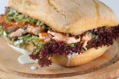 Smaklig laxbiffsmörgås i en ciabatta Royaltyfri Bild