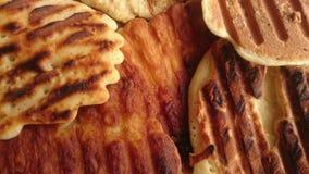 smaklig mat för pannkakafrukostrostat bröd Arkivbild