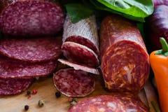 Smaklig mat för sortimentköttprodukter arkivbild