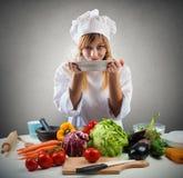 Smaklig maträtt av en kock Arkivbild