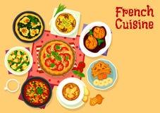 Smaklig matställesymbol för fransk kokkonst för matdesign royaltyfri illustrationer
