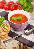 Smaklig ny tomatsoupbasilika och bröd Royaltyfri Bild