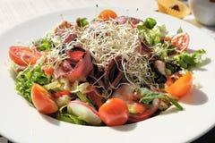 Smaklig och saftig grönsaksallad med skinka Arkivbilder