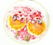 Smaklig och sund mat: Läcker ostkaka med Royaltyfria Foton