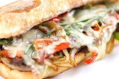 Smaklig ostnötkötthamburgare med grönsallat, cheddar och tzatziki Royaltyfri Fotografi