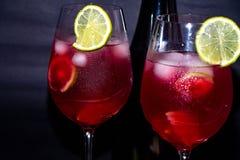 Smaklig röd champagne i exponeringsglas arkivfoton