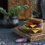 Smaklig smörgås som göras av bröd, tomater, korven, löken och grönsallat på ett träbräde och en mörkerbakgrund, selektiv fokus Royaltyfri Bild