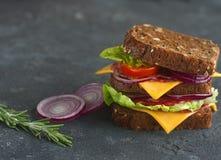 Smaklig smörgås som göras av bröd, tomater, korven, löken och grönsallat på mörk bakgrund, selektiv fokus Royaltyfri Bild