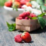 Smaklig sommar bär frukt på en trätabell Arkivbilder