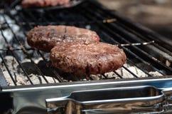 Smaklig stor kebab för nötköttbiff på brand på picknick Arkivbilder