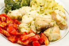 Smaklig sund monkfish med grönsaker arkivfoto